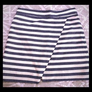 J. Crew Blue/Ivory Textured Striped Skirt